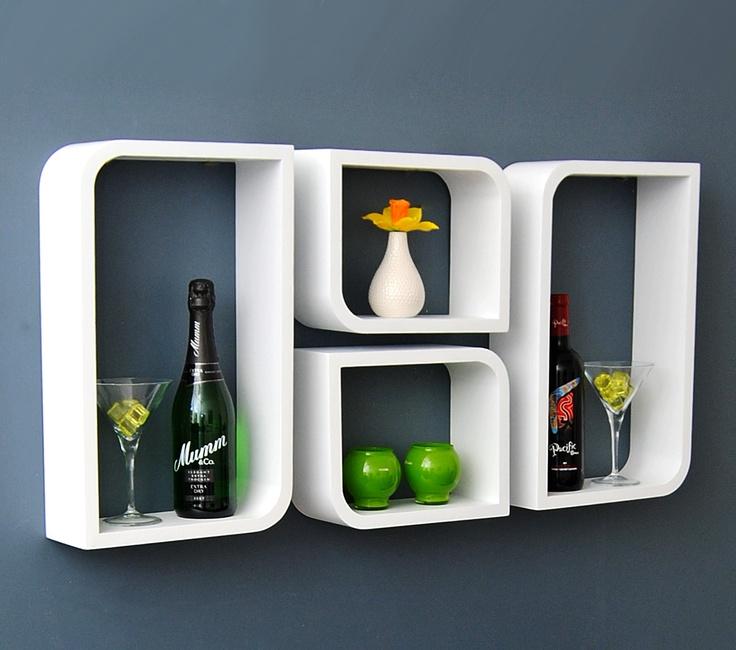 4er Set Lounge Cube Regal Design Retro 70er Wandregal Hängeregal Weiß Matt M22