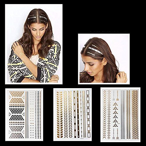 PuTwo 10 Sheets Temporary Tattoos Golden Metallic Hair Tattoo Body Tattoo Removable Waterproof Tattoo Party Supplies