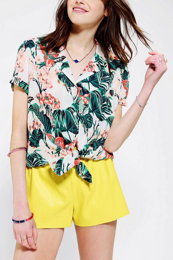 Kimchi Blue Tie-Front Tropical Print Shirt