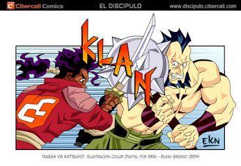 VIÑETA COMIC de Yugga vs Katsumo (Peleando) Color Digital por EKN