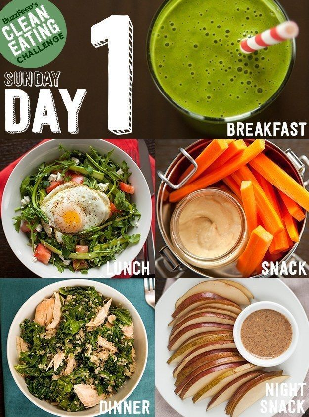 Take BuzzFeed's Clean Eating Challenge, Feel Like A Champion At Life. I don't like breakfast food, but the lunch and dinner combos look good.