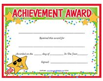 achievement award templates