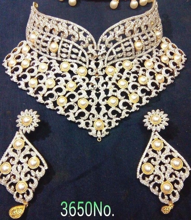Indian Bollywood Bridal Necklace Set CZ Stone Pearl Ethenic Party Dulhan Set  #SparshJewels