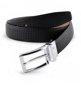 Black & Brown Reversible Textured Leather Belt With Pin Buckle