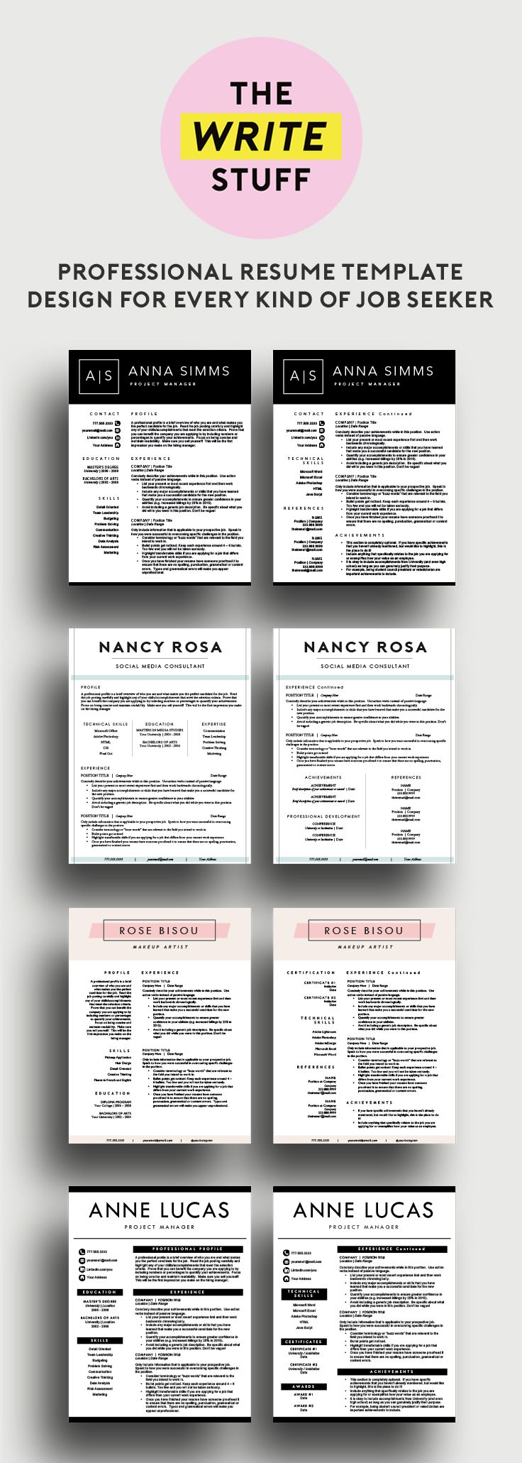 140 best Professional Resume Templates images on Pinterest ...