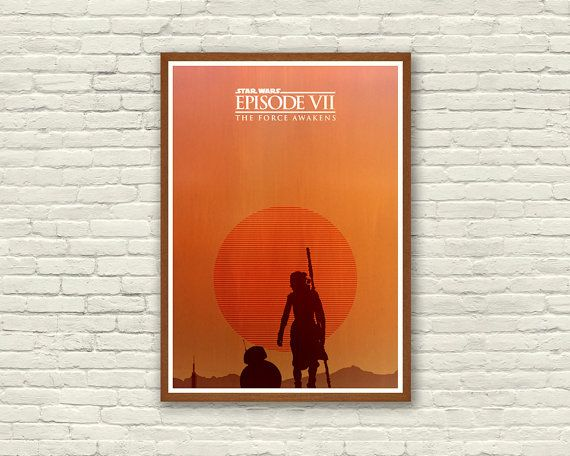 STAR WARS : The Force Awakens / Episode VII / Rey / Bb-8 Droid / Kylo Ren / Han Solo / Skywalker / Sith / Lightsaber / Empire / Movie Poster