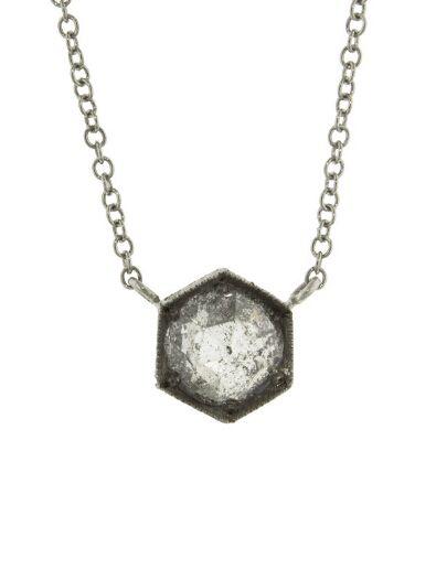 Cathy Waterman - Hexagonal Diamond Pendant Necklace - Platinum