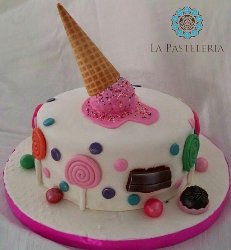 pastel de cumpleaos de nia tema dulces cobertura fondant