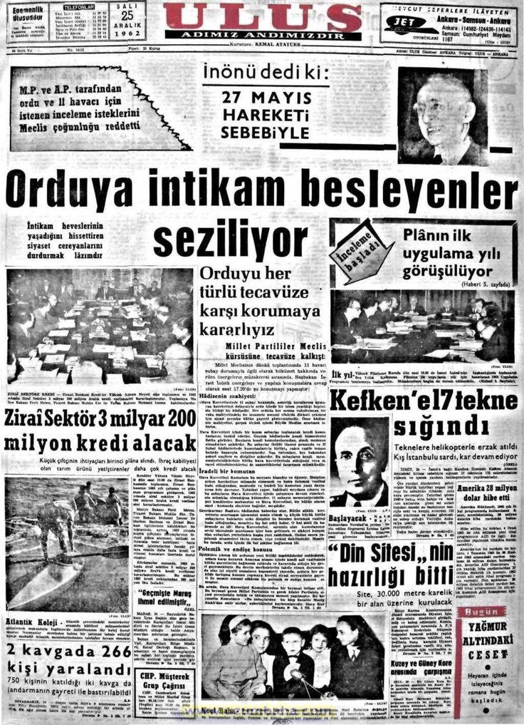 Ulus gazetesi 25 aralık 1962