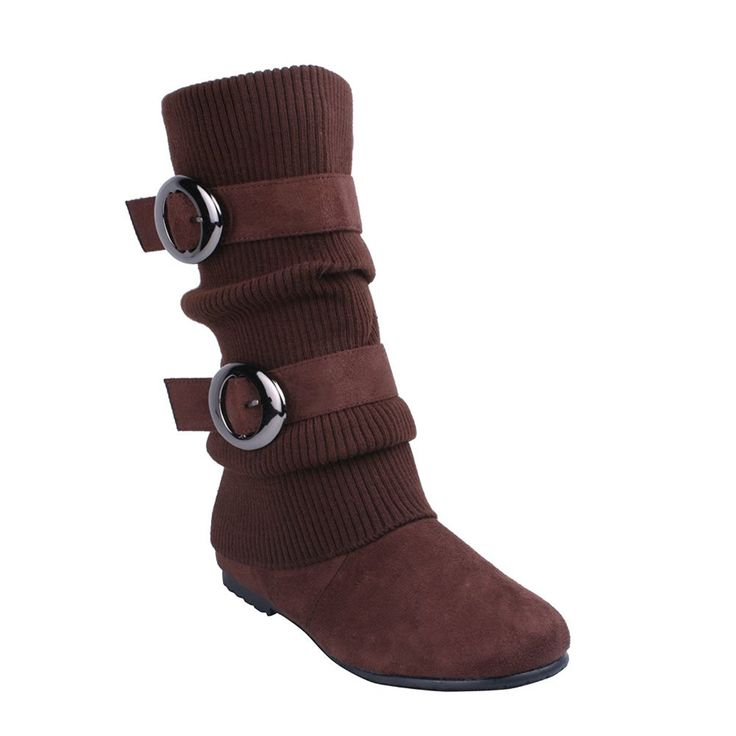 ANNA NO60 Women'S Knitting Shaft Flat Bottom Mid Calf Boots, Color:BROWN -- Check out this great product.