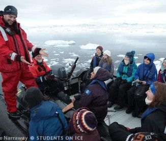 Eric Galbraith teaches students about oceanography abroad a zodiac