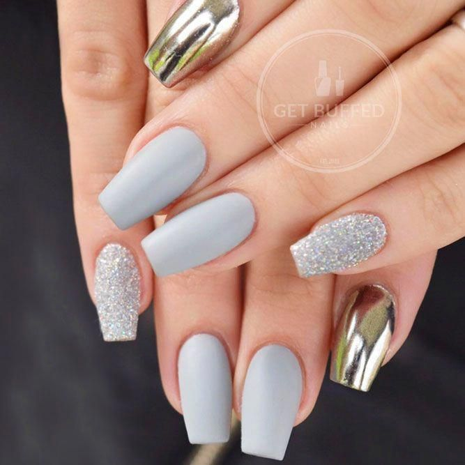 10 Nail Short Coffin Gray In 2020 Short Coffin Nails Designs Short Coffin Nails Coffin Nails Designs