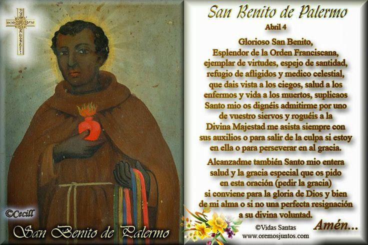 Imágenes de Cecill: Estampita Oración de San Benito Massarari de Paler...