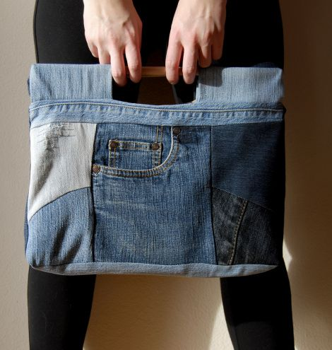 Recycle old denim jeans into a bag - just pictures