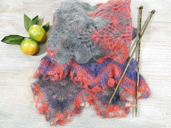 Вязаный ажурный шарф, пушистый шарф, вязаный шарф, вязаный женский шарф, шарф ажурный, шарф из мохера, серый шарф, вязаная шаль