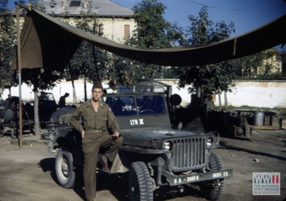 US serviceman William Boylhart with the company jeep in Verona, Italy in 1944 or 1945   The Digital Collections of the National WWII Museum : Oral Histories