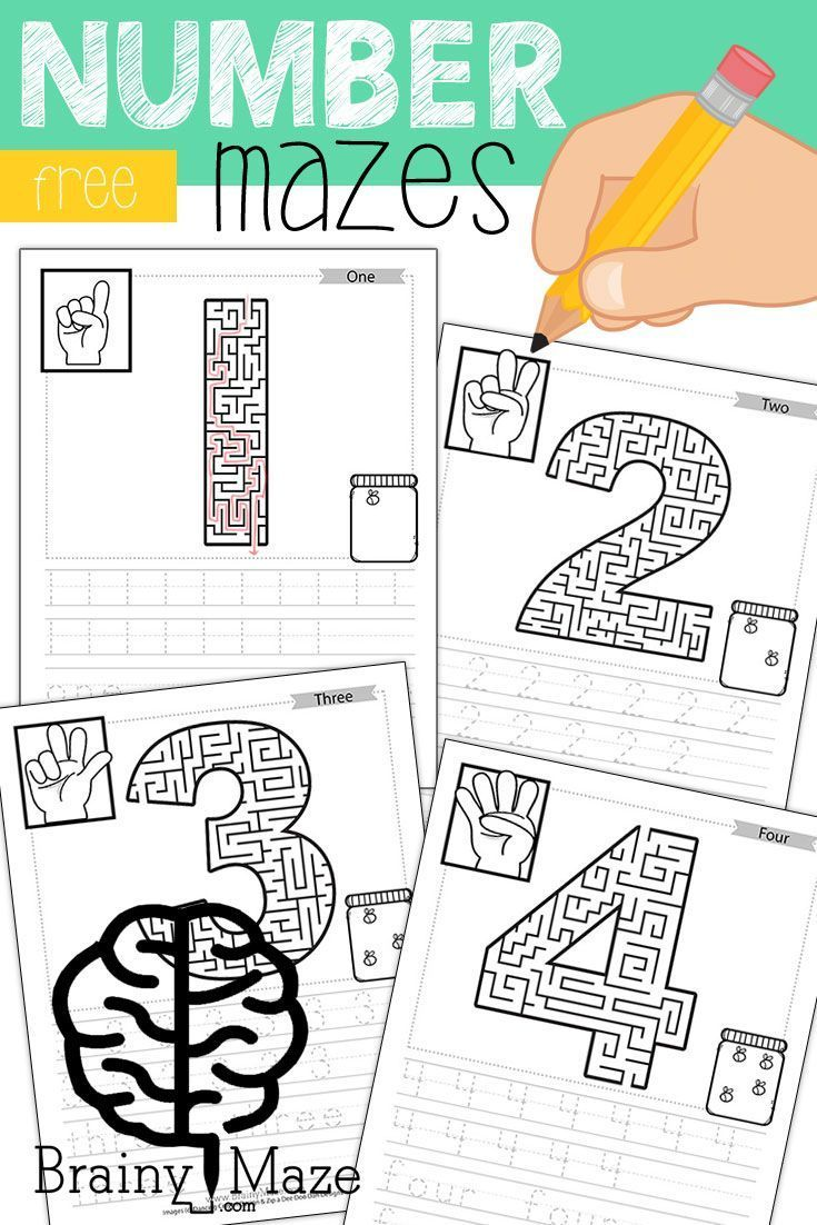 Free Printable Number Mazes. Free Educational Mazes for Kids! This set of free number mazes includes ASL, Counting Practice, Handwriting and more! www.BrainyMaze.com