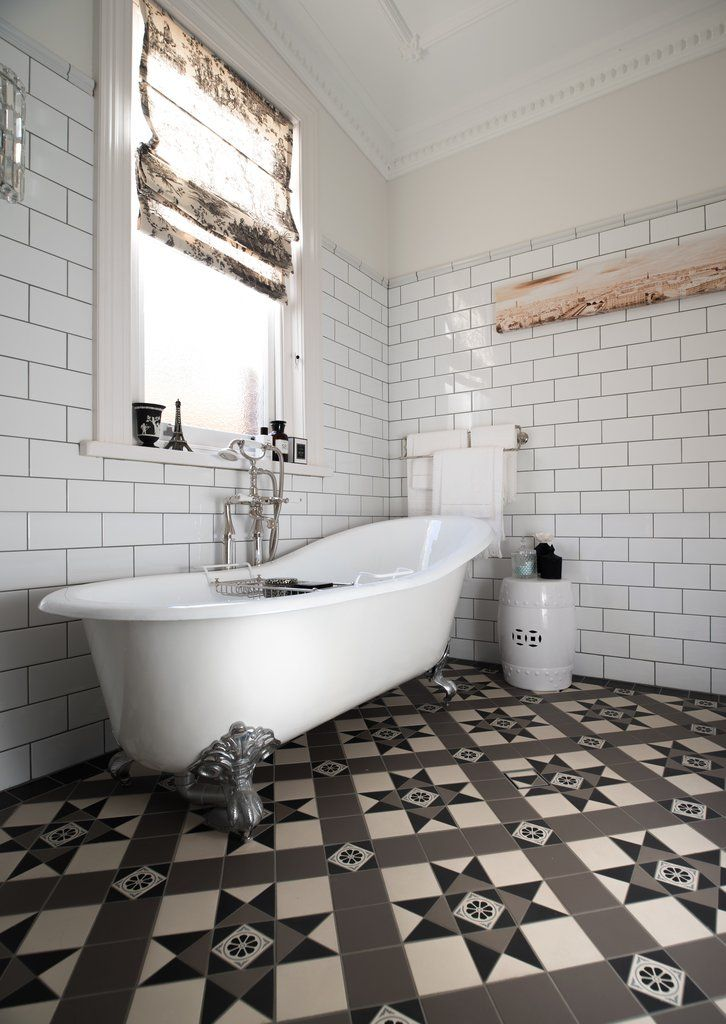 french provincial bathroom with tessellated tile floor classical rh pinterest com