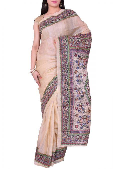 Beige Madhubani Hand Penned Tussar Silk Saree