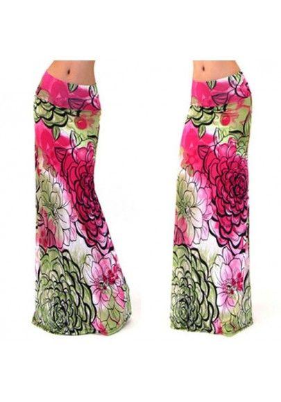 Floral Tribal Print Low-rise Slim Beach Fashion Maxi Skirt