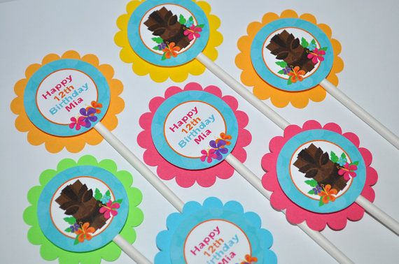 12 Luau Birthday Cupcake Toppers  Luau by sosweetpartyshop on Etsy, $10.00