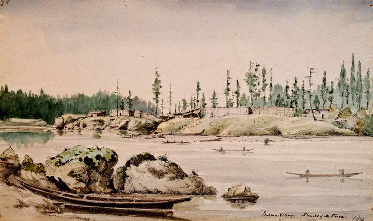 Villaggio a Victoria Harbour. Questo villaggio dei Songhees, nel 1847, si trovava di fronte alla stazione commerciale della Hudson Bay Company di Fort Victoria. Sebbene fosse chiamato Esquimalt, è più corretto definirlo Old Songhees, essendo Esquimalt un insediamento posto in una baia vicina, a Ovest del forte.
