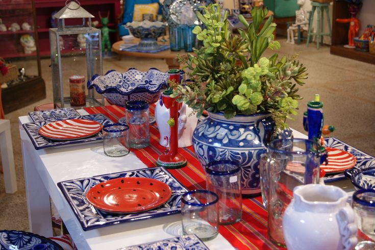 Red, White & Blue Handmade Mexican Ceramics