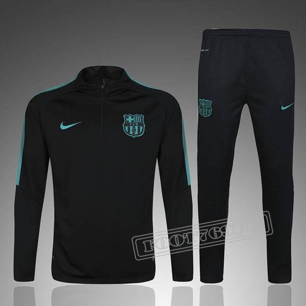 Ensemble De Survetement FC Barcelone Foot Noir/Vert 2016 2017 Nouveau :Foot769Fr