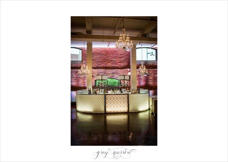 wedding bar and chandeliers