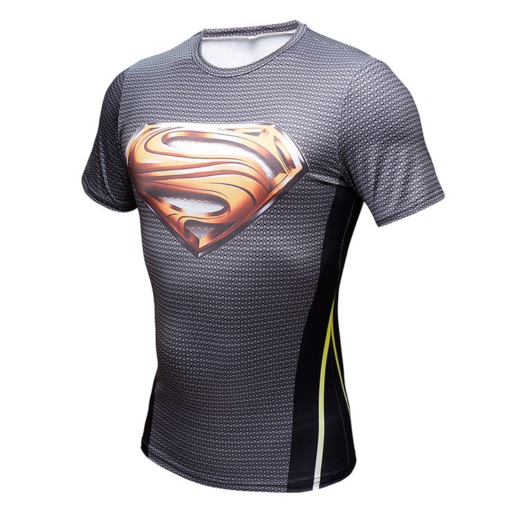 cool Rashguard Short Sleeve Tee Shirt Crossfit Superman DC Gold  -  This t-shirt looks like natural superhero gear! Fits perfectlyrash guard tee shirtis ideal for sport and daily usage. This shirt containslycra, which allows material stretch to the several sizes and comes back to normal size. Perfectly breathtissue, the color doesn't fade over time.