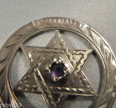 2 4cm Antique Australian 9ct Gold Amethyst E M Perryman Star OF David Pendant