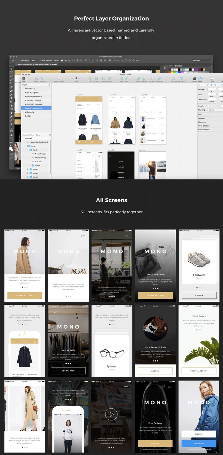 Introducing mobile UI kit for e-commerce projects. More than 60 elegant screens…