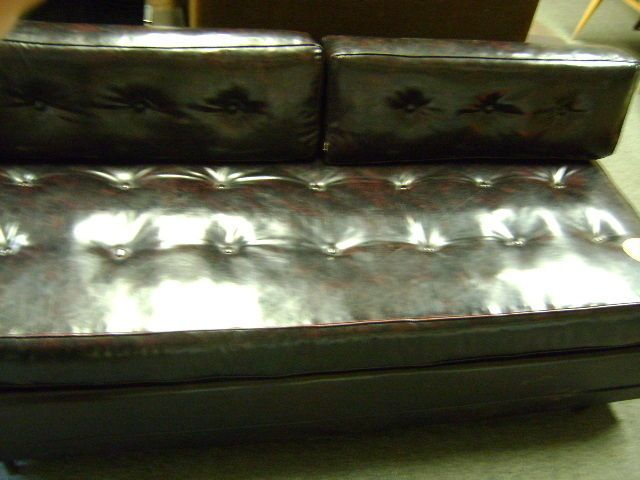 VINTAGE TUFTED ENGLANDER MID CENTURY MODERN BROWN LEATHER SOFA BED COUCH #ENGLANDER #MIDCENTURY