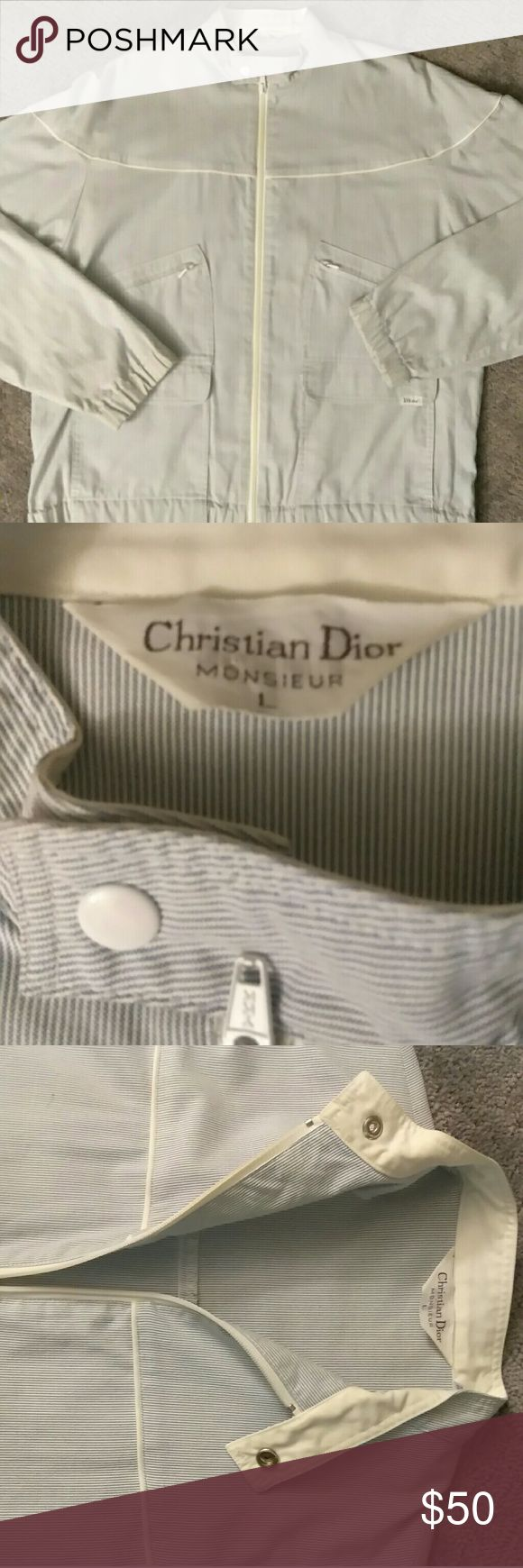 Vintage Christian dior (monsier) Light weight fabric its  white with baby blue pinstripes .it's a  Great causal look with some class and style look amazing with jeans Dior Jackets & Coats