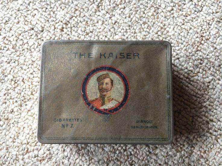 (Henry Collection) WW1 Patriotische Zigarettendose 50 The Kaiser Manoli Berlin London Kaiser Wilhelm