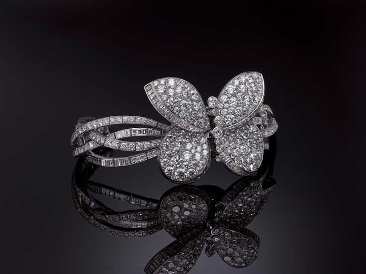 The Graff Princess Butterfly is made of 23.14 carats' worth of tapered baguette- and brilliant-cut diamonds, seen here with the wings closed.