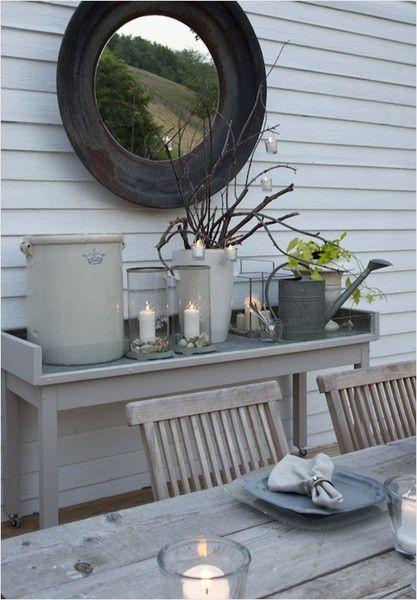 tuindecoratie - sidetable - hout - kaarsen