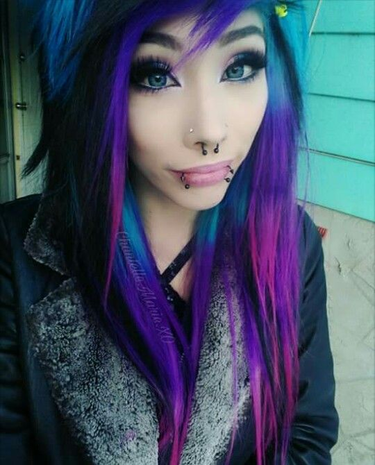 Chantelle Marie,Purple, Blue and pink hair