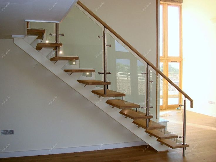 Indoor Stair Design With Wood Tread And Glass Railing