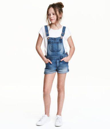 Overallshorts i denim | Denimblå | Børn | H&M DK