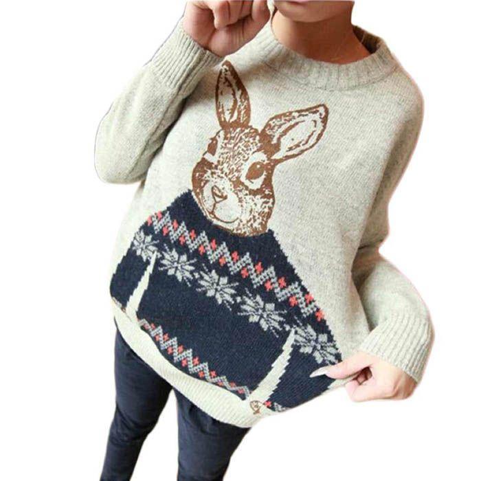 Привлекательный 2015 зима свободный размер женщин Crewneck животное кролик вязаный шерстяной свободного покроя широкий пуловеры теплый свитер для леди купить на AliExpress
