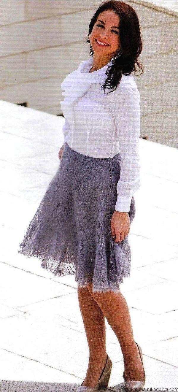 Вязание ажурной юбки спицами схемы