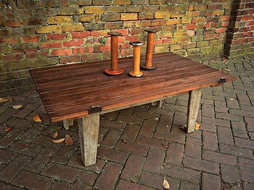 Antique Rustic Coffee Table Made from Hay Loft Door
