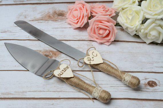 Wedding Cake Server and Knife Rustic Wedding by HappyWeddingArt