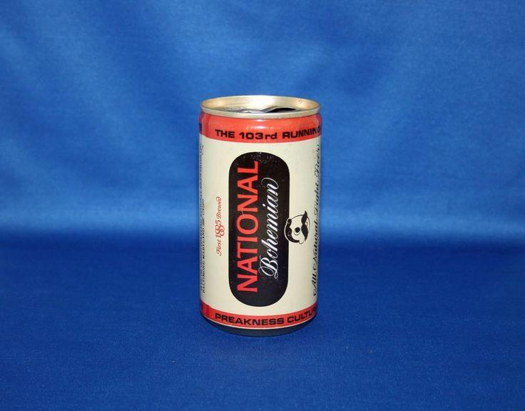 Carling NATIONAL Bohemian Triple Crown Winners Aluminum Beer Can Empty Opened #NationalBohemianBeer