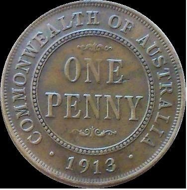 1913 AUSTRALIAN PENNY EF-A/UNC EXTRA FINE TO ABOUT UNCIRCULATED COIN