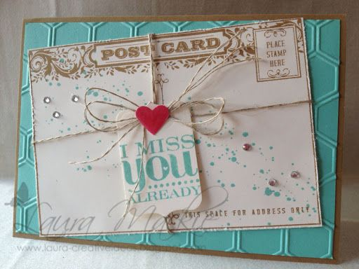 I love this card of Laura's - the bright colors with the vintage image. She used Postcard, Really Good Greetings, and the Honeycomb embossing folder.
