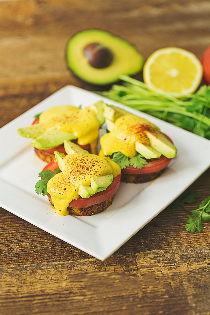 Layered with creamy avocado, ripe tomato and rich vegan hollandaise sauce, this benedict is perfection.