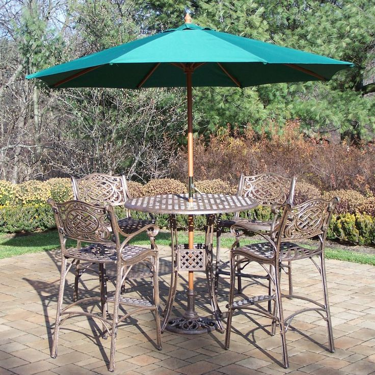 Outdoor Oakland Living Elite Mississippi Cast Aluminum 42 In. Patio Bar Set  With Umbrella And