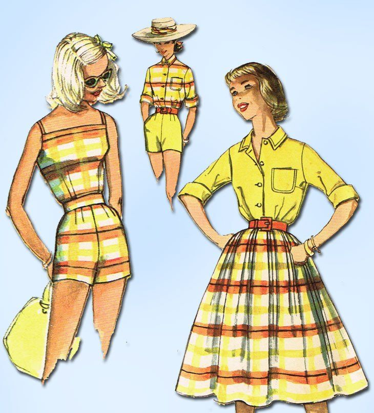 1950s Vintage Simplicity Sewing Pattern 2553 FF Misses Summer Wardrobe Size 32B